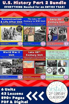 American History Lessons include lesson plans, activities, worksheets, and passages for teaching American History for an entire year! Units included: Reconstruction, WWI, Early 20th Century, WWII, Cold War, and the Civil Rights Movement. #vestals21stcenturyclassroom #americanhistory #americanhistorylessons #americanhistoryhomeschool #americanhistory5thgrade #americanhistorymiddleschool #teachingamericanhistory #americanhistoryactivities #teachingushistory