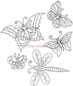 Free Embroidery Pattern: More Butterflies and Dragonflies c1920. jwt