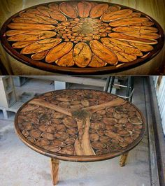 Wood slice mosaic tables