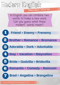 Modern blended words (portmanteaus) for ESL ... Includes words like frenemy, bromance, and adorkable. Could be a fun on a day when you just feel like teaching something lighter.