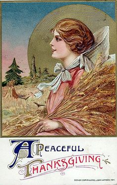 Have a Peaceful Thanksgiving----Vintage Thanksgiving Postcard