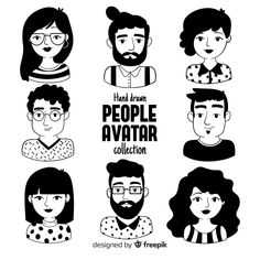 Cartoon people avatar collection Free Ve. People Illustration, Line Illustration, Portrait Illustration, Character Illustration, Les Doodle, Doodle Art, Cartoon Drawings, Cute Drawings, Icon Set