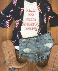 Country music tank + bull skull kimono + moonshine shorts