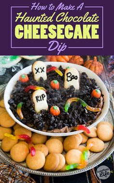 """Transform a chocolate-cream cheese dip into a graveyard scene with Oreo """"dirt"""" and Milano cookie """"gravestones."""" 