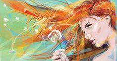 Sarita_Creations Multicolor Girl with Dandelion Art Frameless Cotton Cloth Wall Canvas Painting Dandelion Wallpaper, Dandelion Painting, Drawing Wallpaper, Girl Wallpaper, Flower Wallpaper, Wallpaper Pictures, Art Pictures, Art Watercolor, Art Vintage