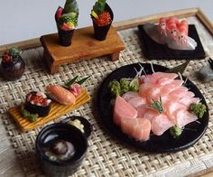 Sushi, salmon Sashimi (No.10) Maki Japanese food sets-Handcraft Dollhouse…