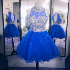 Blue Beaded One Shoulder Mini Prom Dresses Short Evening Dresses 2017 Graduation Cocktail Dresses Real Photo Women Party Dresses Formal Gowns