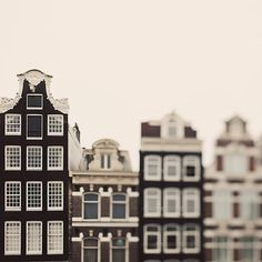 Canal Houses, Amsterdam Photography, Travel, Europe, Whimsical Minimal Architecture, Windows, Neutral Brown Home Decor - The Town