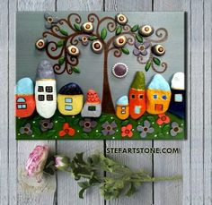 *MADE TO ORDER* ➡ 3-5 days!! ✔ ⭐⭐⭐⭐⭐⭐⭐⭐⭐⭐⭐⭐⭐⭐⭐⭐⭐⭐⭐⭐⭐⭐ ☀ Colorful Stone Wall art ☀ Rustic Wall art, Stone House ☀ pebble art, Unique Home Decor, ☀ Modern Art, stone Art ☀ Family Gift, Mothers gift, 3D Wall art, house art ⛰ The Village 8 By StefArt Stone S.A.S ⛰