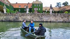 Rowing towards a moat at Chateau de Villiers Le Mahieu.