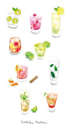 Cocktails illustrations by Nathalie Ouederni www.studiokalumi.com