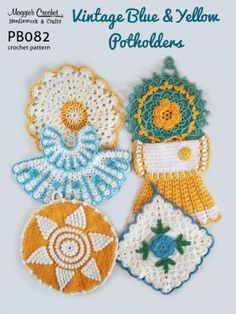 PB082-R+Vintage+Blue+&+Yellow+Potholders+Crochet+Pattern