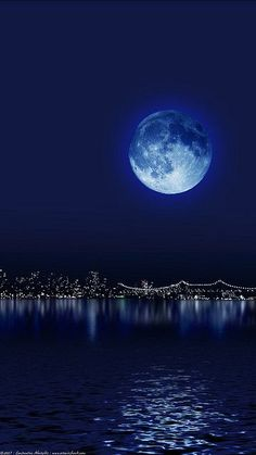 Blue Moon Over Manhattan. Love the Moon and the night sky!!