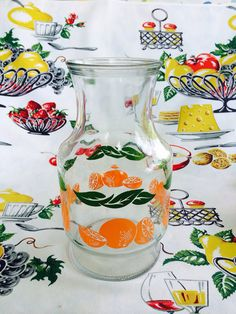 Anchor Hocking Orange Juice OJ Carafe by NonabelleVintage Vintage Dishes, Vintage Kitchen, Kitsch, Dessert Glasses, Hey Good Lookin, Antique Glassware, Anchor Hocking, Orange Juice, Or Antique
