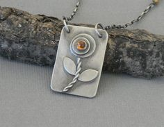 Poppy Flower Pendant with Hessonite Garnet Cabochon Hand Forged Metalwork Necklace Dog Tag Style Pendant