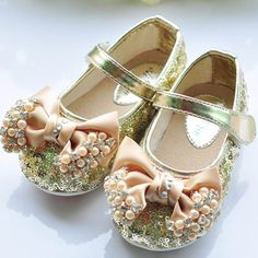 Gold Sequin Patent Leather Toddler Little Pageant Girl Shoes SKU-133063