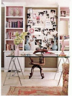 office layout- this is the exact layout i want for my office in the new house. two bookcases in the back with table in the middle and desk in the middle (not glass, hate). then a foldout couch in front at the adjacent wall, to double as a guest bedroom.