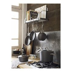 Enclume Bookshelf Pot Rack: The perfect solution for an apartment dweller with minimal cupboard space