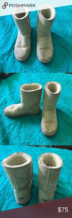 Classic short light tan Uggs Super cute classic short Uggs size 8 slight wear but still in very good condition! UGG Shoes Ankle Boots & Booties