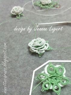 I fell in love with this little roses!    On the third attempt, I started again from the original pattern. The white thread was hidden using...