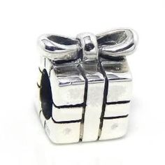 Present Gift Box Sterling Silver Bead Charm by ArmCandyCompany