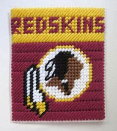 Washington Redskins tissue box cover in plastic canvas PATTERN ONLY by AuntCC for $2.50 Plastic Canvas Tissue Boxes, Plastic Art, Plastic Canvas Crafts, Plastic Sheets, Plastic Canvas Patterns, Needlepoint Patterns, Perler Patterns, Cross Stitch Patterns, Box Patterns