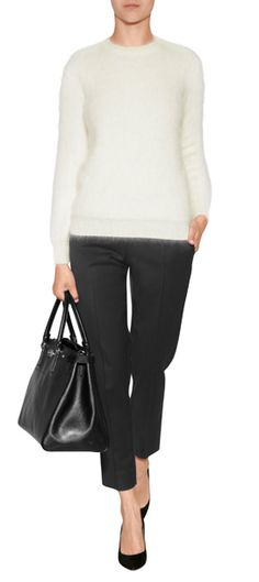 A fuzzy angora blend lends a cozy-chic look to this porcelain pullover from Salvatore Ferragamo #Stylebop