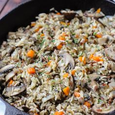 Herbed Wild Rice with Mushrooms // Fork in the Kitchen Wild Rice Recipes, Mushroom Rice, Vegetarian Side Dishes, Rice Grain, Fried Rice, Stuffed Mushrooms, Fork, Vegan, Vegetables