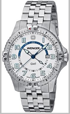 Wenger 77079 Squadron GMT Steel Watch. 43mm case. $200