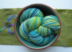 Merino wool yarn laceweight teal blue lime by LifesAnExpedition