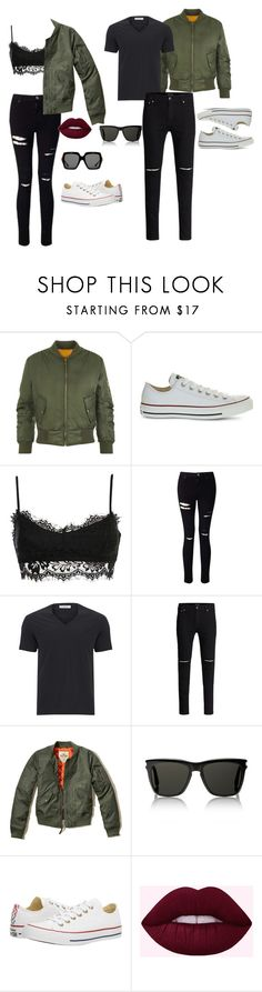 """""""His and Hers"""" by nadyadeannisa on Polyvore featuring WearAll, Converse, Miss Selfridge, Versace, Hollister Co., Yves Saint Laurent, Gucci, converse and couple"""