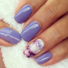 Cnd wisteria haze with marbling on accent nail