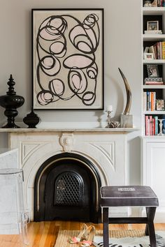 Erin Gates Design/ Art by Amanda Talley Black And White Painting, Black And White Abstract, Black Art, Fenton House, Erin Gates, Loft Interiors, Bachelorette Pad, Elements Of Style, Fireplace Design