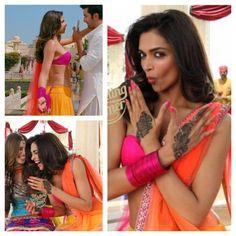 Deepika Padukone in Yeh Jawaani - love love love this pink and orange lehenga!