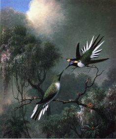 Two Hummingbirds by Martin Johnson Heade