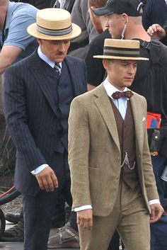 The Great Gatsby (2012) | Tobey Maguire (Nick Carraway) and Joel Edgerton (Tom Buchanan) look dapper in their Brooks Brothers' fashioned suits on the set.