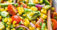 Avocado Corn Salad This Avocado Corn Salad is a bright and feel good summer salad that's loaded with grilled corn, creamy avocado, cherry to. Corn Salad Recipe Easy, Corn Salad Recipes, Summer Salad Recipes, Corn Salads, Beef Recipes, Whole Food Recipes, Healthy Recipes, Fresh Corn Salad, Summer Corn Salad
