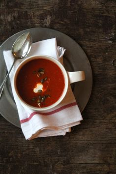 Grillet paprikasuppe med futt Red Pepper Soup, Stuffed Pepper Soup, Stuffed Peppers, Red Peppers, Vegan, Thai Red Curry, Chili, Spicy, Dinner