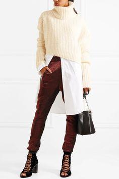 Ann Demeulemeester | Asymmetric chunky-knit turtleneck sweater | NET-A-PORTER.COM