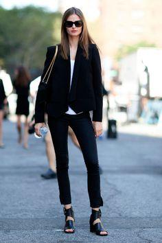 Total black suit, reinventing classics...
