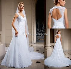 Wholesale 2014 Wedding Dresses - Buy 2014 New Arrival Center Novias A-Line Wedding Dresses Bridal Gown With Sheer V-Neck Backless Lace Crystal Appliques Chapel Train Sku Cn26, $132.62 | DHgate