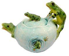 Rare Delphin Massier Frogs Teapot
