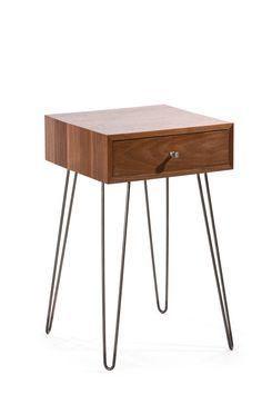 Newton Minimialist Nightstand   Black Walnut Mid Century Industrial Chic  Modern Side Table Bedside Table End Table Drawer