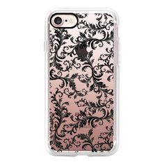 Vintage stylish black white chic floral damask - iPhone 7 Case, iPhone... (170 RON) ❤ liked on Polyvore featuring accessories, tech accessories, iphone case, apple iphone case, floral iphone case, slim iphone case, iphone cover case and vintage iphone case