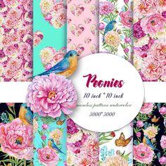 Peonies, Seamless Patterns, Flowers, Digital Watercolor, Flowers Scrapbooking Paper,Birds Pattern,Watercolor Flowers