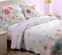 Flower Garden White Lavender Bedding Full/Queen Quilt Set Little Girls Kids Bedspread