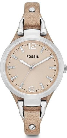 Fossil Watches, Women's Georgia Three Hand Leather Watch - Sand #ES3369 *if i were to wear an expensive watch... it would be something like this. FOSSIL<3*