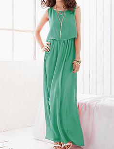 mousseline de soie longue robe bohème le vert de ouliya femmes de 1779392 2016 à €2.93