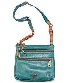 fossil crossbody in peacock blue. love the color! Women's Crossbody Purse, Fossil Crossbody Bags, Fossil Handbags, Backpack Purse, Leather Crossbody, Leather Bag, Trend Fashion, Fashion Bags, Magic Bag