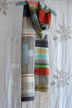 Cardinal cross handwoven hemp and linen scarf by avalanchelooms